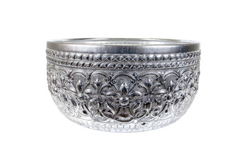 Silver bowl with Thailand pattern isolated on white background