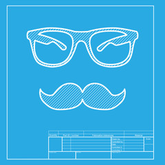 Mustache and Glasses sign. White section of icon on blueprint template.