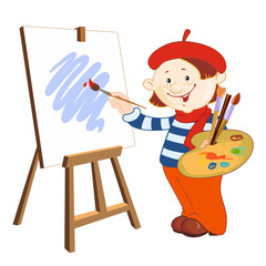 Young artist who paints with brush painting on easel
