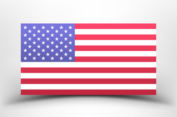 USA flag. American national flag on a white background with shadow.