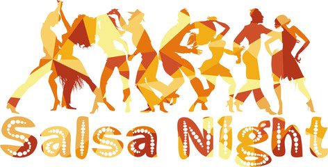 Salsa nigh polygonal vector silhouette illustration with dancing couples, EPS 8
