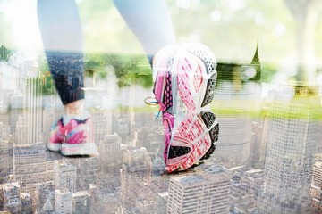 Composite image of close up picture of pink sneakers