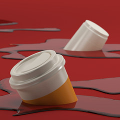 Coffee cup sunk-in background abstract 3D rendering 3D illustration