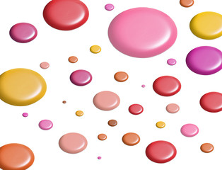 Circles of colourful paint on white background