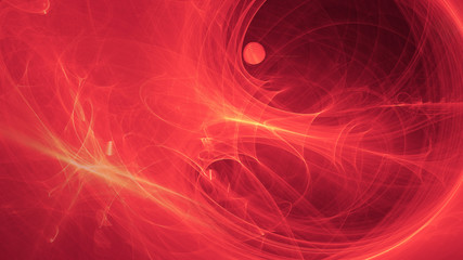 glowing red curved lines over dark Abstract Background space universe. Illustration.