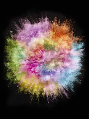 Abstract rainbow colour powder explosion