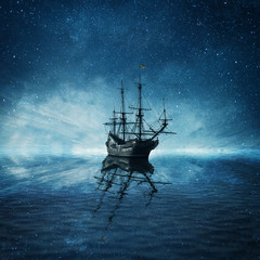 In de dag Schip A ghost pirate ship floating on a cold dark blue sea landscape with a starry night sky background and water reflection.
