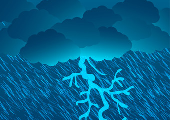 Vector Illustration. Rain, rain and lightning.
