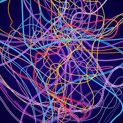 Neon lines, abstract composition, bright background, a tangle of colored lines, vector design art