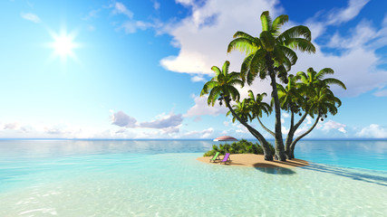 beach and palms blue sky clouds 3D rendering