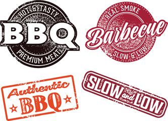 Barbecue BBQ Menu Stamps and Signs