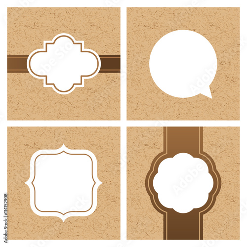 Vector set of vintage frames and banners with craft paper texture ...