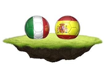 Italy vs Spain team balls for football championship tournament, 3D rendering