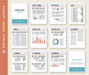 Document Report Portrait Layout Templates Set