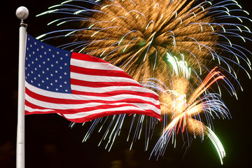 Fireworks and flag background for Independence Day