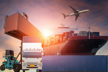 Wall Mural - Container truck ,ship in port and freight cargo plane in transport and import-export commercial logistic ,shipping business industry