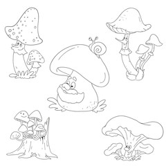 Collection of funny mushrooms. Vector mushroom characters.