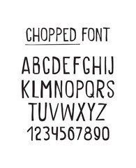 Line simple chopped font. Universal alphabet with capital letter