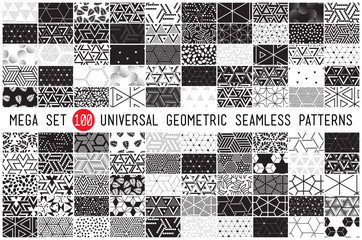 hundred universal different geometric seamless patterns