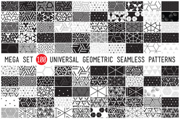 Fototapeta hundred universal different geometric seamless patterns obraz