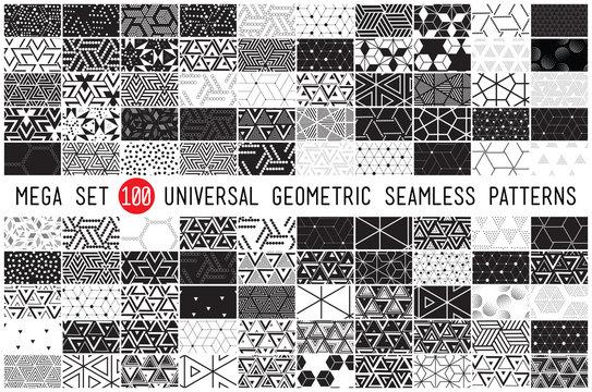 hundred universal different geometric seamless patterns