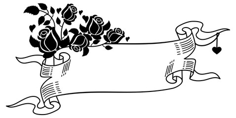 Contour paper scroll with roses silhouettes. Vector clip art.
