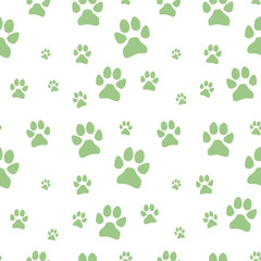 green dog footstep seamless pattern