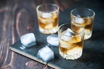 Bourbon Whiskey with a Sphere Ice Cube Ready to Drink