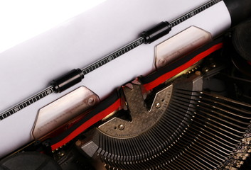 typewriter with paper sheet. Space for your text, close up