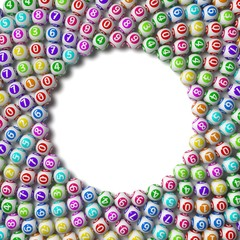 3d illustration of lottery balls. circular sorted.