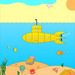 Vector illustration of a submarine at sea