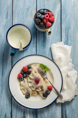 Delicious and fresh dumplings with fruits