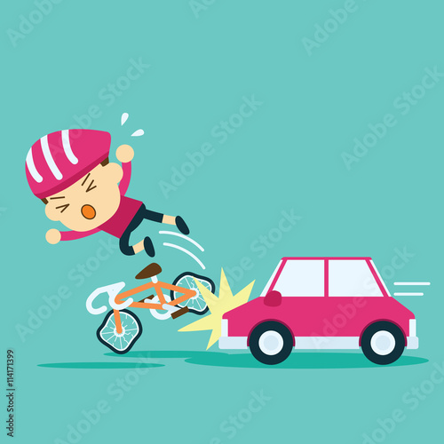 Car Accident Crash Cyclist Ride A Bicycle Stock Image And Royalty