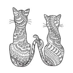 hand drawn decorated cartoon cats