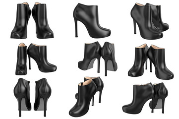 Set shoes black patent leather on high heels. 3D graphic