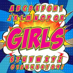 Alphabet collection set. Comic pop art style. Light pink color version