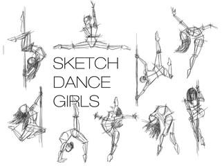 Sketch ance girls. Set silhouettes of woman dancing, line art. Dancing woman handdrawn sketch