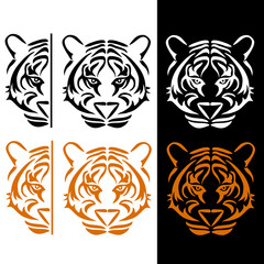 Black and orange tiger in tattoo style.