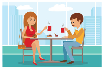 Couple in cafe - Vector Illustration with city landscape on window. People sitting at table lunch talk and drinking coffee.