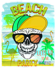 Vector Illustration of Skull, Summer and beach