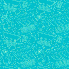 Vector seamless stationery pattern with computer, laptop, camera.
