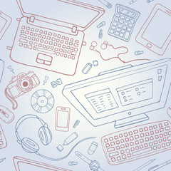 Vector seamless stationery pattern with computer, laptop, camera. Top view