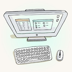 Vector illustration of computer.