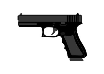 Hand gun in black on white