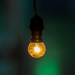 Light bulb glowing in dark