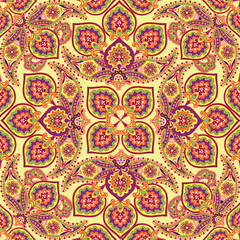 Flourish tiled pattern Abstract floral oriental ornament Geometric flower background