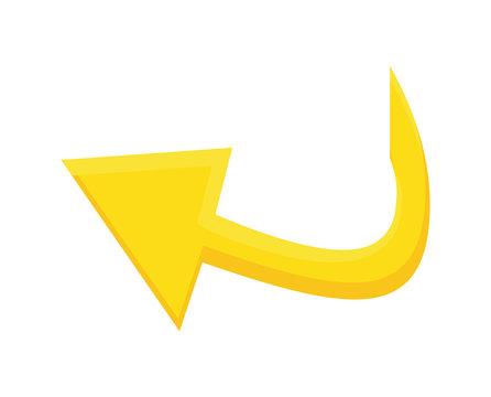 yellow arrow icon. direction concept. Vector graphic