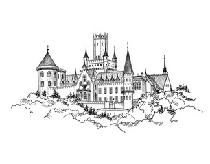 Famous German Castle Landscape. Travel Germany Background. Castle building on the hill skyline etching