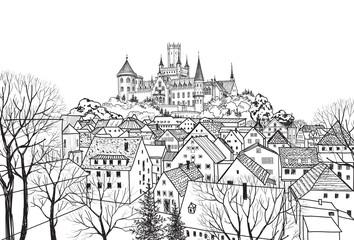 Old city view. Medieval european castle landscape. Pencil drawn vector cityscape. Germam skyline sketch
