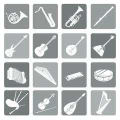 Musical instruments icon set. Folk, classical, jazz, ethnic, rock music symbols